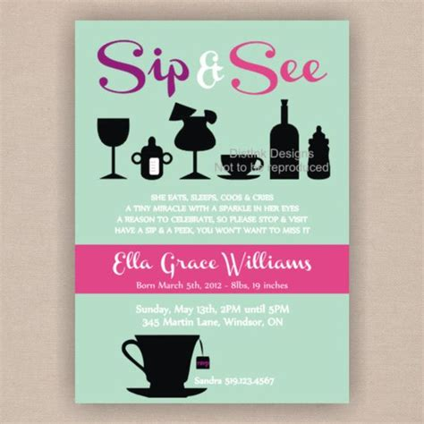 Sip And See Baby Shower by Sip And See Baby Shower Invitation Printable 5x7 By