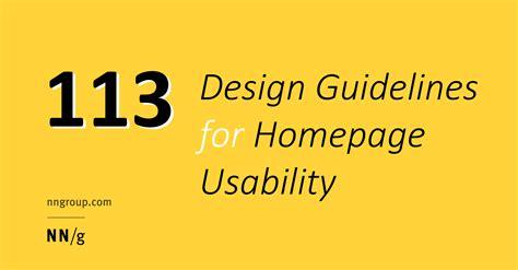 design guidelines nielsen 113 design guidelines for homepage usability jakob nielsen