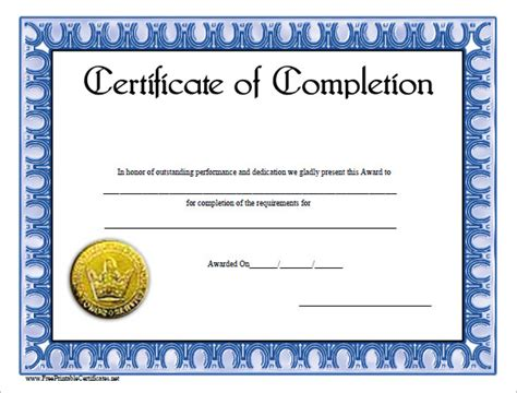 Certificate Of Completion Template by Completion Certificate Templates 36 Free Word Pdf Psd