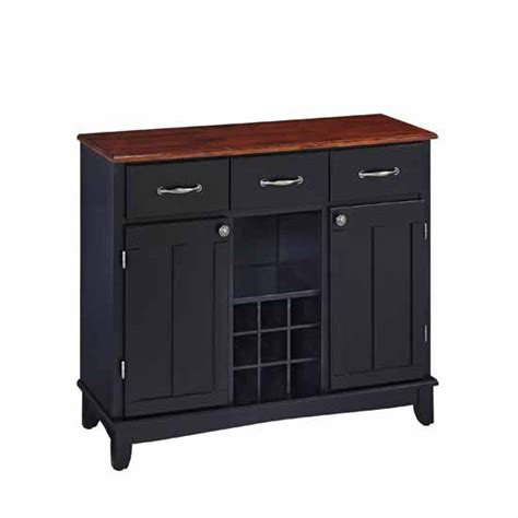 home styles large buffet server black base with cherry top