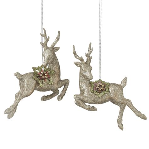 chagne deer christmas ornaments set of 2 assorted