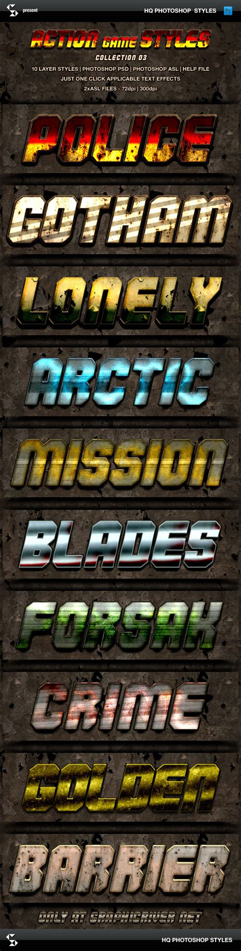 dafont commando action game styles collection 3 graphicriver