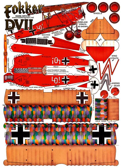 paper craft models fokker dvii papercraft minuscules and granules