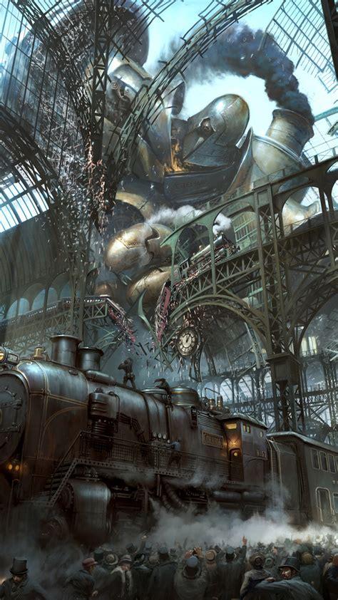 steampunk train station titan android wallpaper