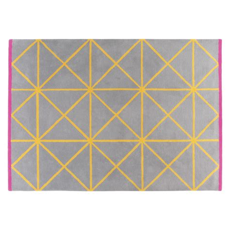 Geometric Rugs by Grid Large Grey And Yellow Geometric Wool Rug 170 X 240cm