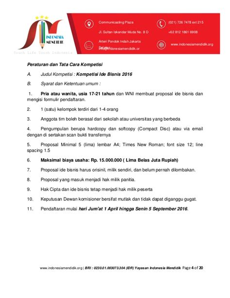 membuat proposal yayasan proposal lomba ide bisnis yayasan indonesia mendidik dot org