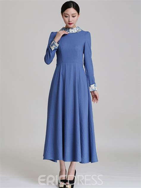 Simple Maxi 5 by Ericdress Vintage Simple Sleeve Maxi Dress 11413802