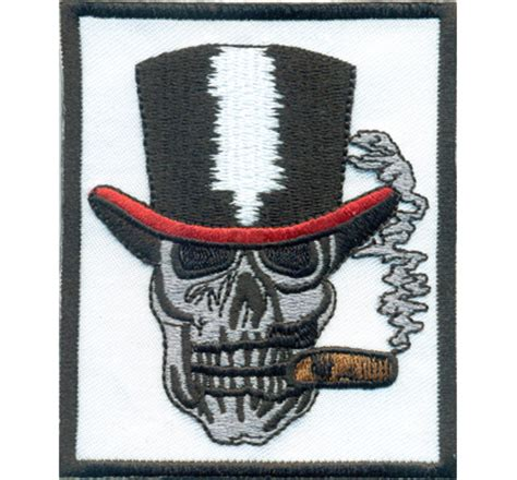 Motorrad Patches Marken by Gentleman Totenkopf Hut Zigarre Skullhead Rockabilly Biker