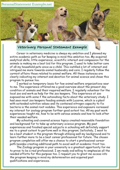 best and professional veterinary personal statement exle