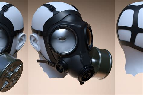 ladari 3d gas mask prop obj step iges 3d cad model grabcad