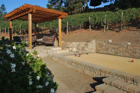 backyard bocce ball court dimensions bocce ball court pergola landscaping pinterest