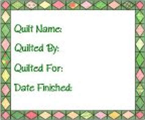 Quilt Label Template by Free Printable Quilt Labels
