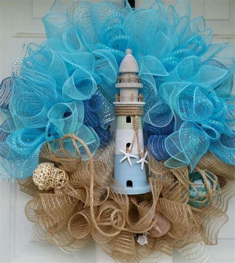 designer nautical beach coastal mesh wreath