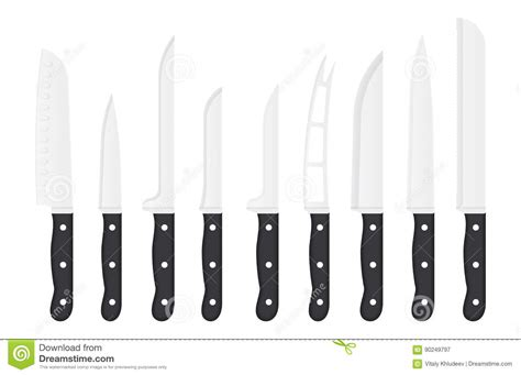 names of knives in the kitchen kitchen knife set with signature names vector knives