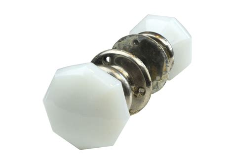 Milk Glass Octagonal Door Knob Set Arts And Crafts Knobs Octagonal Glass Door Knobs