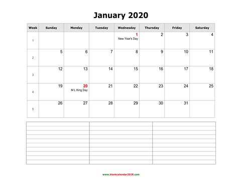 blank monthly calendar   notes landscape