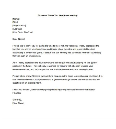 thank you letter after meeting 7 business thank you notes free sle exle format