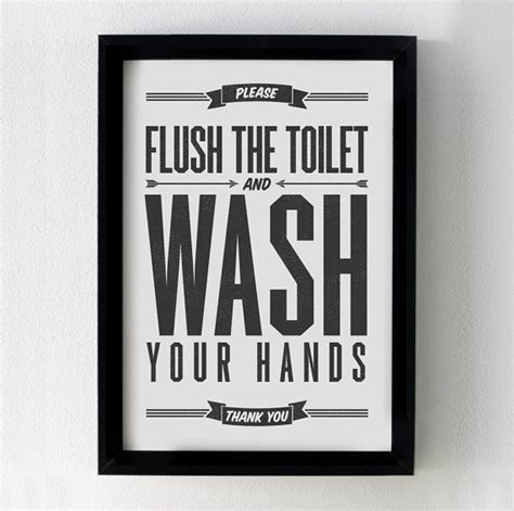 printable toilet quotes please flush the toilet and wash your hands 8x10 by