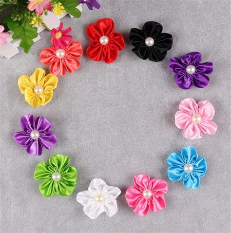 h17 20pcs lot satin cloth flower with pearl applique