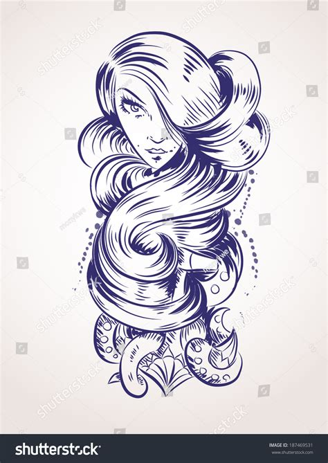 curly tattoo designs design curly stock vector 187469531