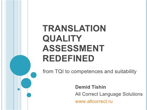 thesis on translation quality assessment translation quality assessment redefined