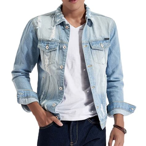 Ripped Washed Jaket light blue autumn worn ripped denim chest pockets washed jean jacket for alex nld