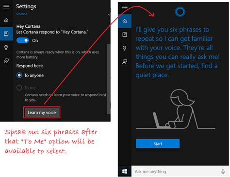 cortana learn my voice in windows 10 windows 10 tutorials how to activate quot hey cortana quot in windows 10 laptop pc