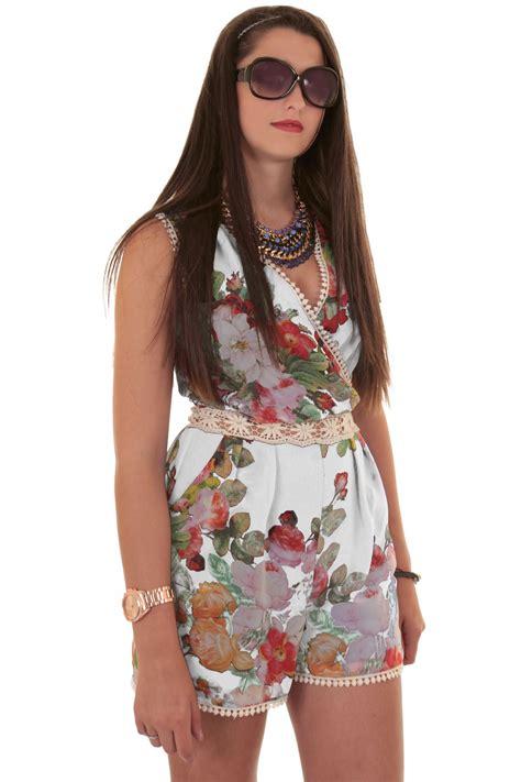 Sleeveless Lace Trim Playsuit sleeveless wrap v neck floral crochet lace chiffon