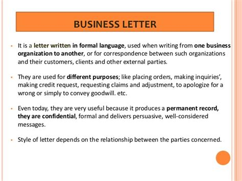 Business Letter Writing Language business letter