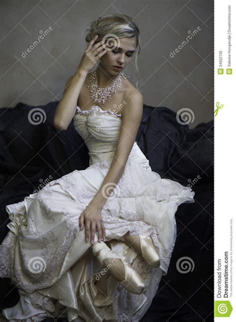 beautiful blonde bridal ballerina stock photo image
