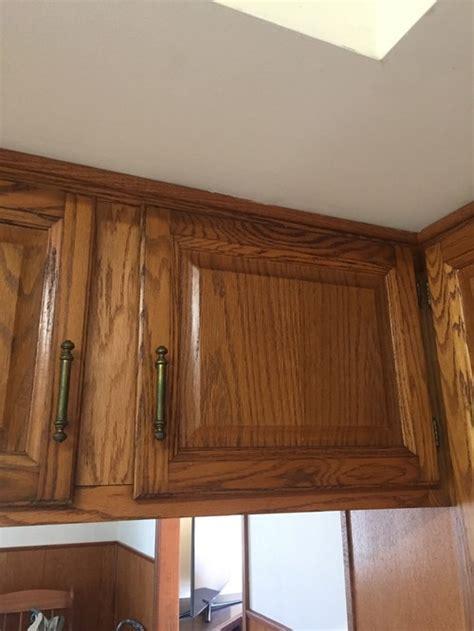 staining honey oak cabinets cherry with gel stain