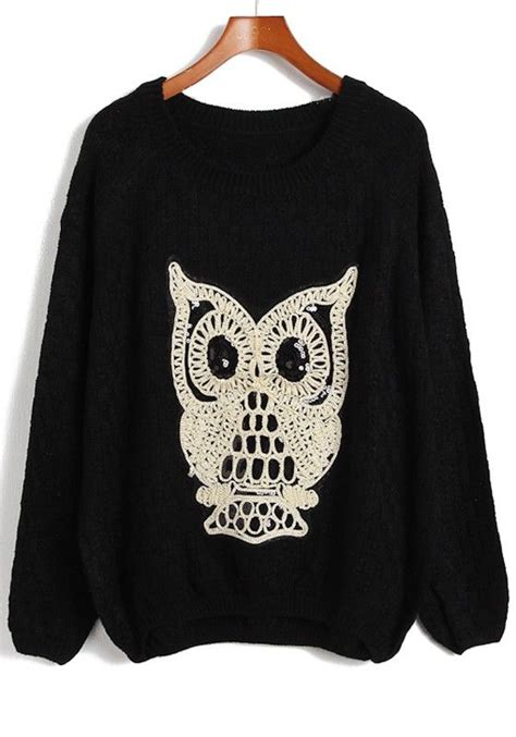 black owl sequin neck acrylic sweater owl