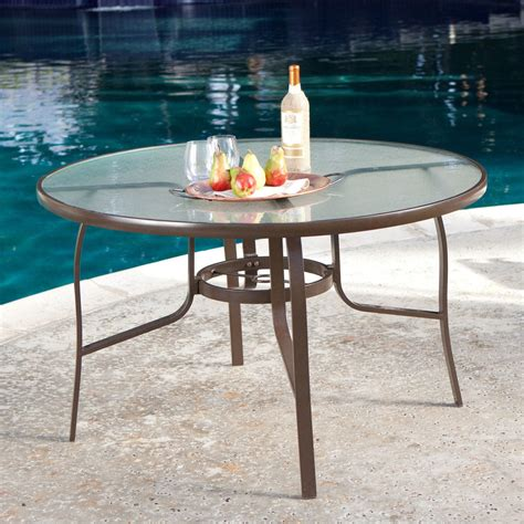 Round Glass Outdoor Dining Table   Home Design   Mannahatta.us