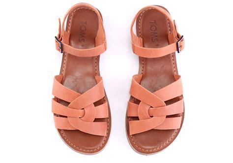 lyst toms brown leather s zoe sandals in orange