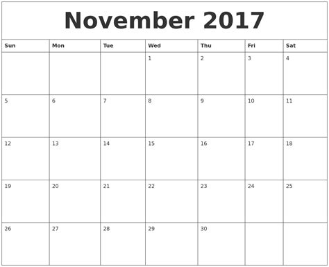 printable calendar template november 2017 november 2017 large printable calendar