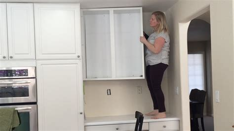 upper cabinet door removal kitchen pinterest removing an upper cabinet by myself time lapse youtube