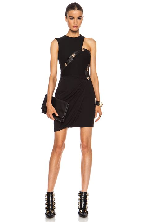 versace draped cut  mini dress  black fwrd
