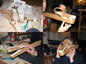 cardboard dragon mask wip by wingedlioness on deviantart