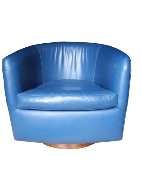 blue swivel chair pair of mid century modern blue leather swivel lounge