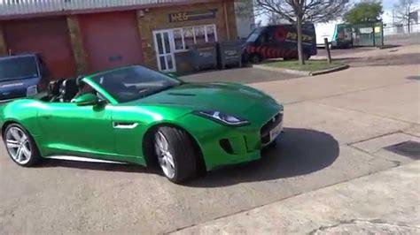 green jaguars metallic green wrapped jaguar f type v8s