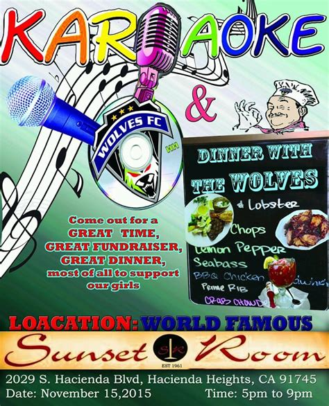 sunset room hacienda heights big wolves fc fundraiser on sunday 11 15 come join us for a great hacienda heights soccer club