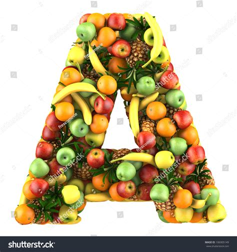 vegetables w vitamin d letter a made of fruits isolated on a white stock