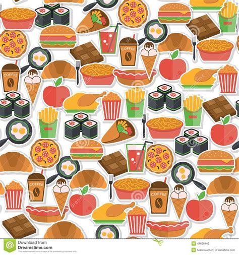 pattern illustrator food fast food icon seamless stock vector image 41638462