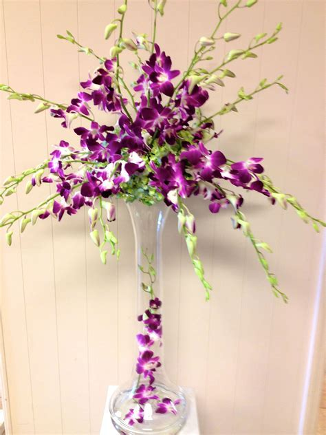 All Orchid Wedding Centerpiece   Purple Dendrobium Orchids