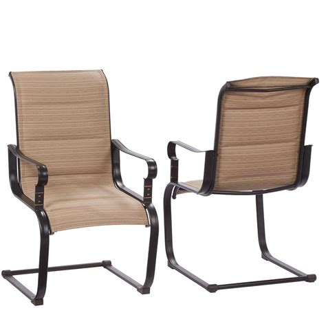 Restaurant Patio Chairs Hton Bay Belleville Rocking Padded Sling Outdoor Dining Chairs 2 Pack Fcs80198c 2pk The