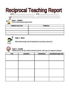 Reciprocal Teaching Worksheet by 1000 Images About Reciprocal Teaching On