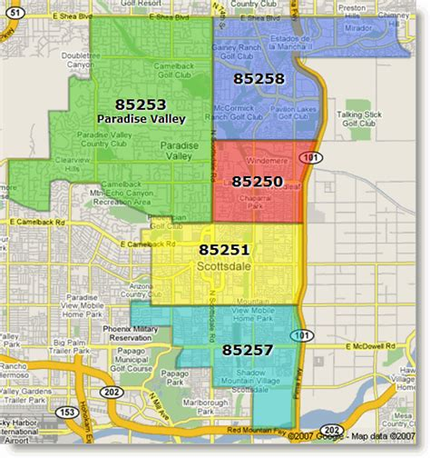 arizona zip code map scottsdale paradise valley arizona zip code map