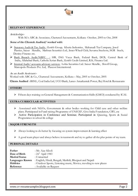 resume format for experienced accountant excellent work experience professional chartered accountant resume sa