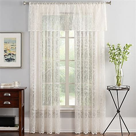 sheer lace curtain panels abstract lace sheer window curtain panel in ivory bed