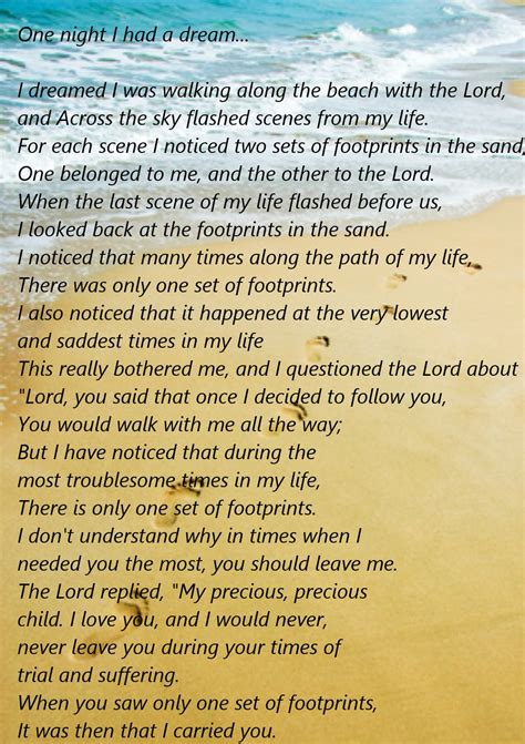 printable version footprints in the sand footprints in the sand poem printable version the last